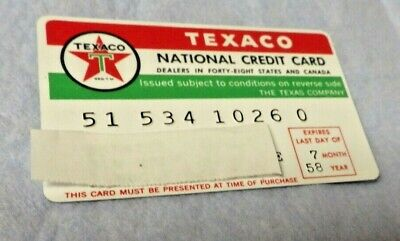 Vintage 1950s era Texaco Credit Card  With 1958 Expiration Date