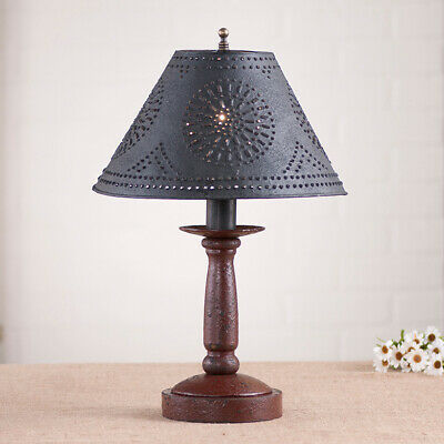 Butcher's Lamp in Americana Red with Textured Black Tin Shade FREE SHIP