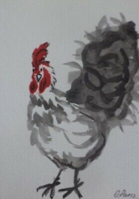 "ACEO LE Art Card Print 2.5x3.5/"" Rooster By Wheel Garden Animal Art by Patricia"