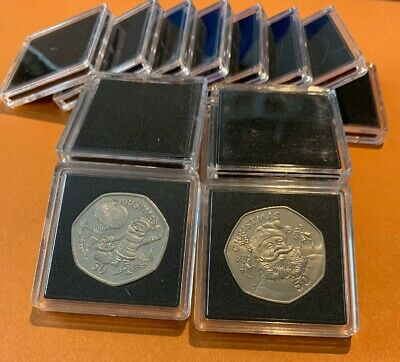 Square Coin Holder Capsules with Insert foam for Large 50p Coin X 50 PCS
