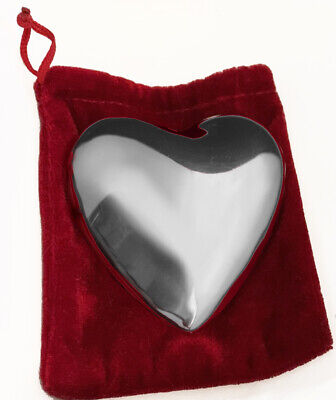 """Brighton Silver Puffy Heart Chime/Paperweight 2-3/4""""With Red Velvet Pouch"""