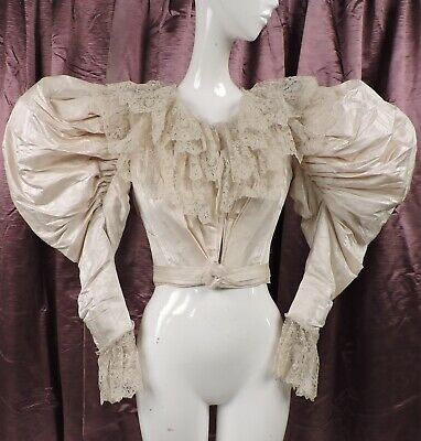 Most Massive Mutton Sleeve Victorian 1890'S Wedding Bodice For Dress