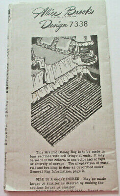 Vintage Alice Brooks Design 7338 Rugs Crocheted Braided Hooked 6 Patterns, 1940s