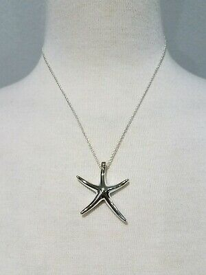 """RETIRED TIFFANY & CO  STARFISH NECKLACE STERLING SILVER 925 17"""" co"""
