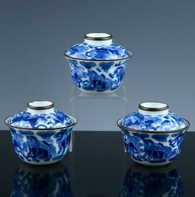 3 Great Chinese Qing Dynasty Blue White Fu Lion Lidded Bowls Seal Marks