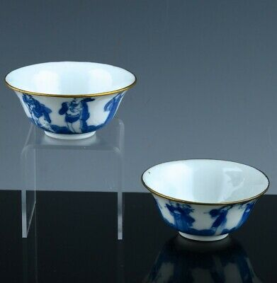 Vfine Chinese Qing Dynasty Blue White Eight Immortals Wine Cups Bowls Seal Marks