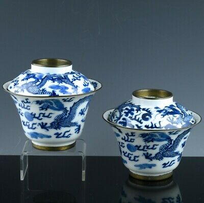 Great Pair Antique Chinese Qing Dynasty Blue & White Dragon Lidded Bowls Marked