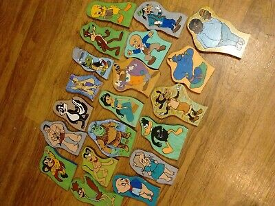 """Vtg....20 (6"""" - 10"""")  Hand Painted Wooden  Cartoon Character Wall Plaque Lot"""