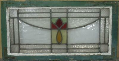 "OLD ENGLISH LEADED STAINED GLASS WINDOW TRANSOM Pretty Abstract 28.75"" x 15"""