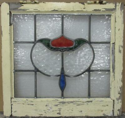"OLD ENGLISH LEADED STAINED GLASS WINDOW Gorgeous Abstract Design 20"" x 19"""