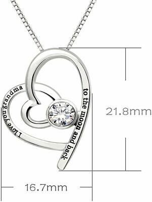 Swarovski Crystals I Love You Grandma to the moon and back - Pave Heart  Necklac