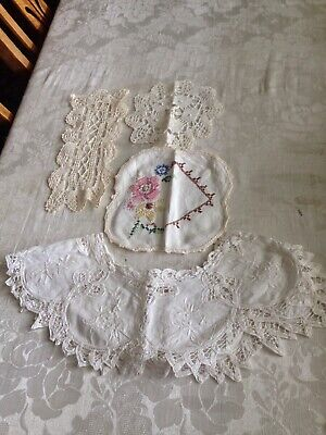 Vintage Battenberg Lace Collar And 3 Lace Doilies
