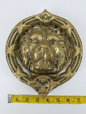 Brass Lion Head Door Knocker 7 x 8 Large 2.60 LBS