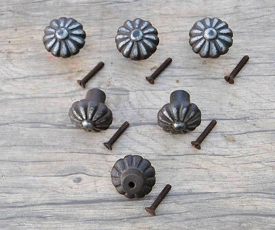 Vtg victorian floral cast iron cabinet drawer door knobs handles pull rustic 6pc