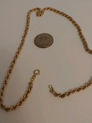 14k Solid Yellow Gold 14KT Rope Necklace / Chain 18 in (11.1 gm) 14 K