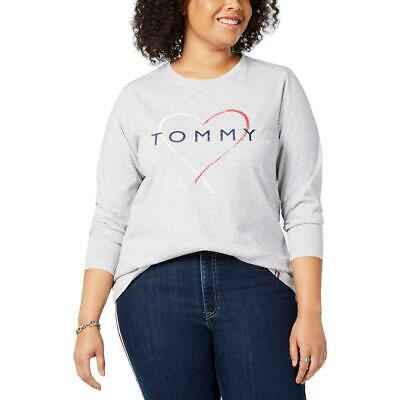 Tommy Hilfiger Sport Womens Gray Logo Pullover Top Shirt Plus 0X BHFO 3929