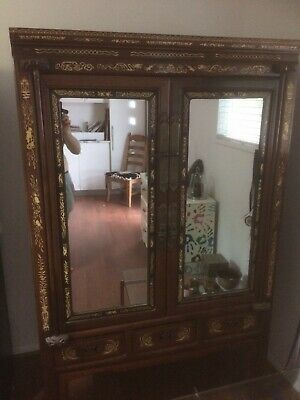 antique chinese inlayed mirrored elmwood cabinet