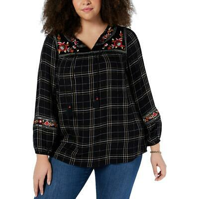 Womens Black Embroidered Floral Peasant Top Shirt Plus 1X BHFO 8947 Style /& Co
