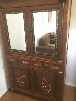 antique chinese elmwood inlayed mirrored cabinet