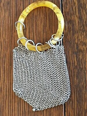 antique chain mail ring handle COIN PURSE