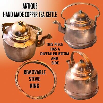 Antique Hand Made Copper Kettle With Goose Neck Spout & Removable Stove Ring .