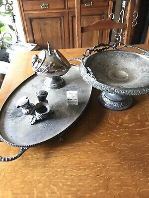 Bulk Job Lot Of Four Antique Vintage Quality Silverplate Items