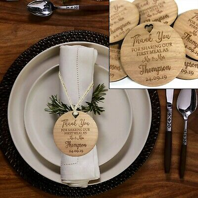 Personalised Wedding Favour Tags, Table Decor First Meal Mr & Mrs Wooden Gift