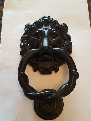 Cast Iron Door Furniture Lion head knocker, matching door knob and keyhole cover