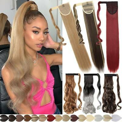 100% Mega Wrap Around Thick PonyTail Clip In Hair Extensions Real Long Curly NEW