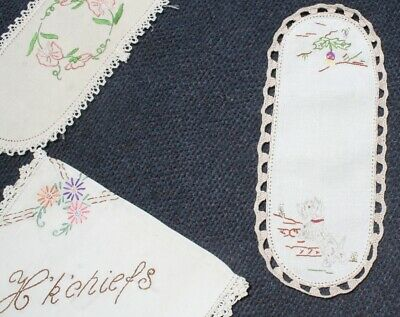 Vintage Hand worked 3 Adorable embroidered ITEMS Scotty Dog, Sweet pea Phone bag