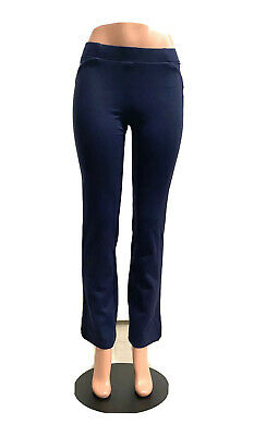 Style & Co. Women's Ponte Industrial Blue Boot Leg Mid-Rise Pants Size Small
