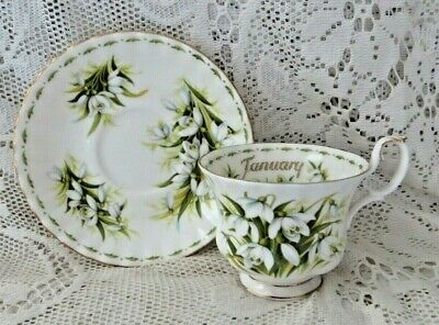 Vintageroyal Albert January Cup & Saucer Lily Of The Valley - Made In England