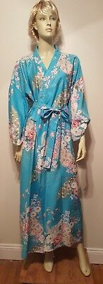 Japanese Peacock Kimono Wrap Dress Robe Blue Gold Floral