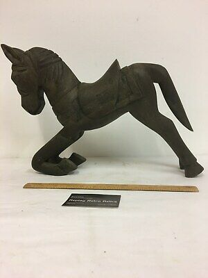 Large Vintage Carved Wooden Kneeling Horse Sculpture