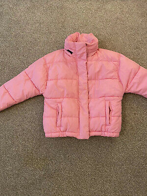 Next Girls Pink Puffa Padded Jacket With Zip Away Hood Age 8