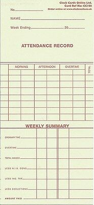ETR50 / AC002 Time Cards for Clocking in Clock Machine WEEKLY Model - 200 Pack