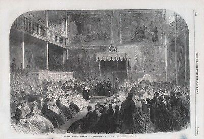 Old Antique 1866 Printprince Albert Opening Industrial Museum At Edinburgh B92