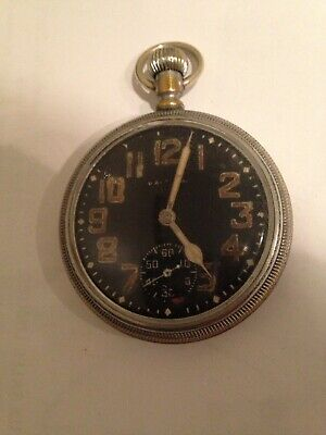 WW II Military Pocket Watch WALTHAM  16s 9 Jewels Circa 1940s