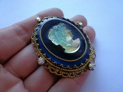 Antique Art Deco Czech Opalite Cameo Glass Ornate Brooch