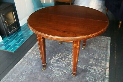 Antique Joseph Fitter Victorian Mahogany Wind-Out Extendable Table, oval/round