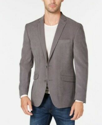 $295 Kenneth Cole Reaction Solid Front Two-Button Blazer Grey Mens 42L 42 NEW