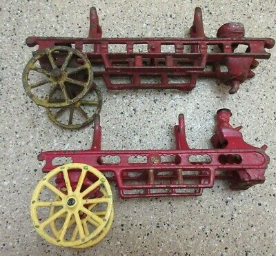 x(2)  Antique Cast Iron Fire Carriage Wagon Cast Iron Auctions N/R Check it Out