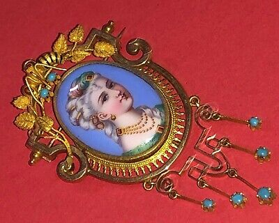 Superb Antique French Solid 14K Gold Enamel Hand Painted Beauty Portrait Brooch