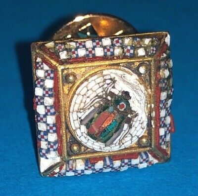 Antique Victorian Solid Gold Etruscan Revival Roman Micro Mosaic Scarab Pin