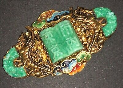 Antique Art Deco Czech Neiger Brothers Green Glass Enamel Chinese Style Pendant
