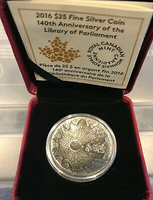 2016 Silver $25 Coin 140th Anniversary of the Library of Parliament 1st Concave!