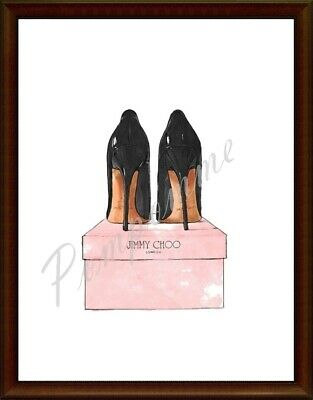 Black Shoes Fashion Print Watercolour Picture Wall Art Decor Bedroom Pink A4