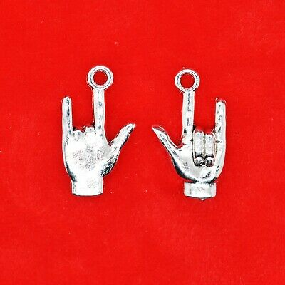 10 x Tibetan Silver 3D I LOVE YOU Sign Language Hand Gesture Heavy Metal Charm