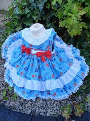 DREAM 0-4 YEARS BABY GIRL ROYAL BLUE TARTAN WINTER SPANISH PUFFBALL FRILLY DRESS