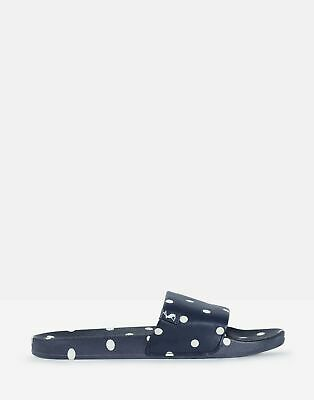 Joules Womens Poolside Pu Sliders in DARK BLUE SPOT Size Adult Size 7